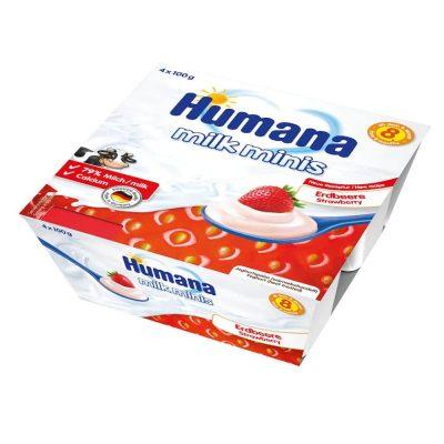 Humana Milk Minis jogurta deserts ar zemenēm 400g
