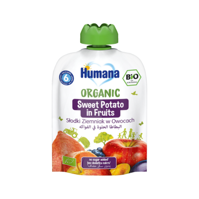 Humana BIO augļu biezenis ar saldo kartupeli 90g